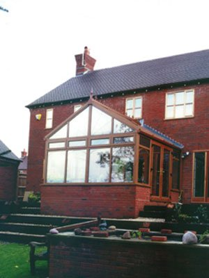 Edwardian conservatory with gable roof