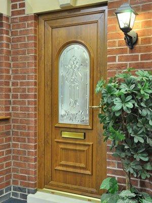 Oak effect pvc entrance door