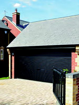 Closed black garage door