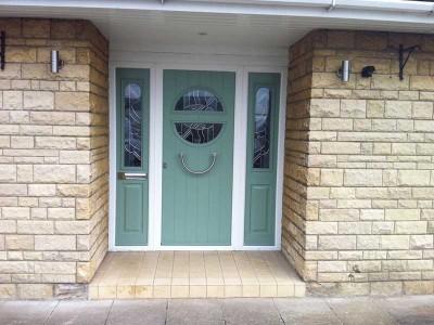 Green composite entrance door